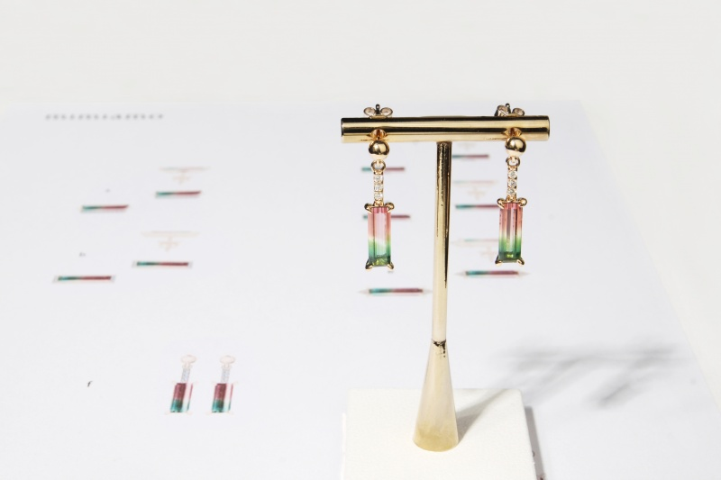 WATERMELON TOURMALINE COCKTAIL EARRING